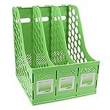 3* Compartiments Boîte de Rangement en Polypropylène pour Bureau Rangement du Document Panier Classeur Rangement Modules pour Stockage Vert/Rose