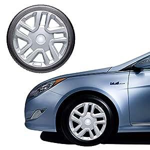 Oshotto NSKU-7905 Push Type 16 inch Silver Wheel Cover Caps for Maruti Suzuki Brezza (Set of 4)