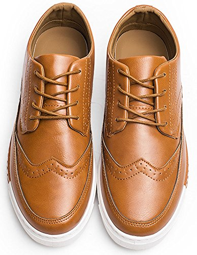 Anlarach Mocassins Pour Hommes Brogue Décontractée Lace-up Walking Flat Blucher Chaussures Marron Marron