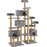 TecTake Katzen Kratzbaum Katzenbaum XXL | Stämme komplett mit Kokosseil umwickelt | 214cm hoch - Diverse Farben (Grau mit Tatzen | Nr. 402808)