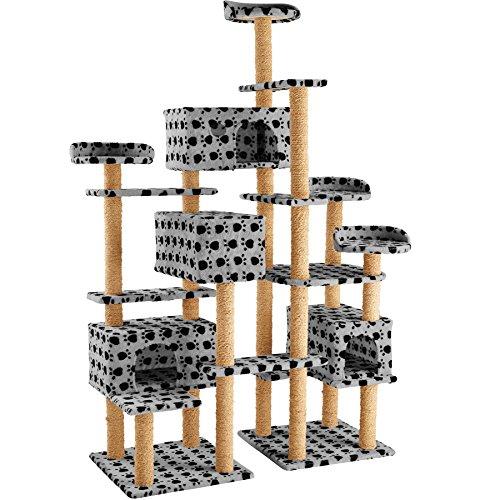 TecTake Arbre à Chat XXL Griffoir corde de coco 214 cm   4 Abris confortables   4 Plateformes - diverses couleurs au choix (Gris avec empreintes de pattes   no. 402808)