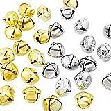 Jingle Bell Massa 60 Pezzi 1 Pollice Metallo Craft Campane per Natale Decorazione DIY Ornamento (Argenteo, Oro)