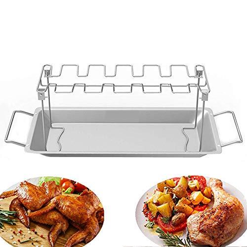JY Barbecue Roaster Rack Auffangwanne, 14-Fach Edelstahl-Metallgitter mit Auffangwanne, Tresor-Geschirrspüler, Antihaft-Pfanne, Geeignet für Barbecue oder Ofen, Picknick