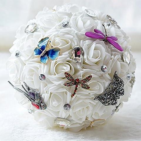 Sposa con eleganti rose bianche tenendo