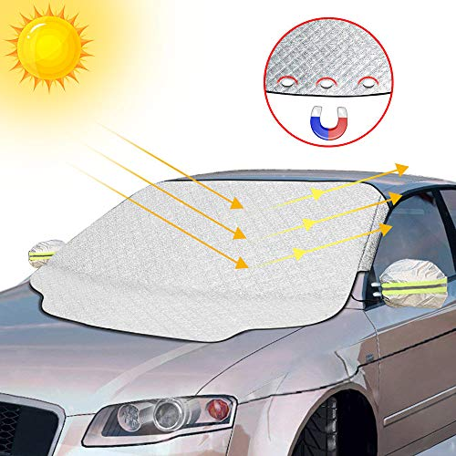 otumixx Frontscheibenabdeckung Auto Scheibenabdeckung Windschutzscheibe Abdeckung Magnet Fixierung Faltbare Auto Abdeckung für Windschutzscheibe gegen UV-Strahlung, Sonne, Staub, Schnee, EIS, Frost