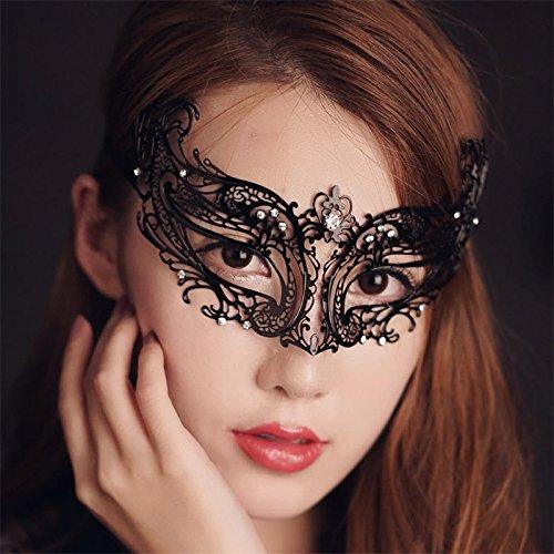 Maske Metall Schwarz venezianischen Maskerade-Maske für Frauen mit (Venezianische Für Masken Frauen)
