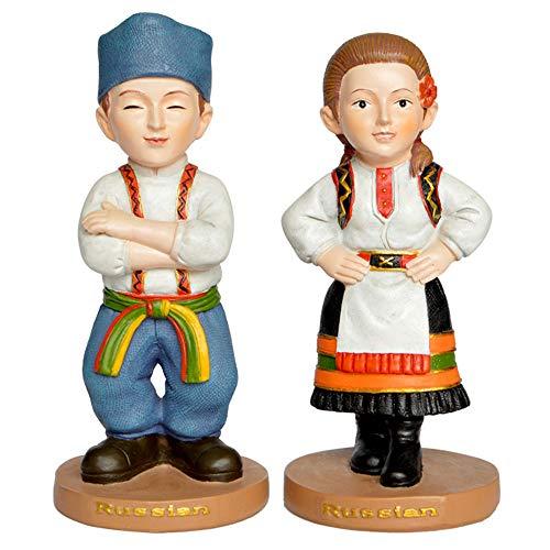 DECORATION Hausdekorationen, Paar-skulpturen, Russische Trachtenfiguren, Mini-Desktop-Ornamente, Kunstharzlackiertes Kunsthandwerk, Souvenirs Für Touristen (7 X 7 X 15 cm)