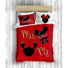 100% algodón Mickey y Minnie Mouse 3D impresión digital cama de matrimonio Funda de edredón (200 x 220 cm), y funda de almohada (50 x 70 cm)