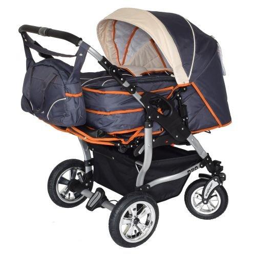 Adbor Duo 3in1 Zwillingskinderwagen mit Babyschalen - silbernes Gestell, Zwillingswagen, Zwillingsbuggy Farbe Nr. 15s graphit/beige/orange