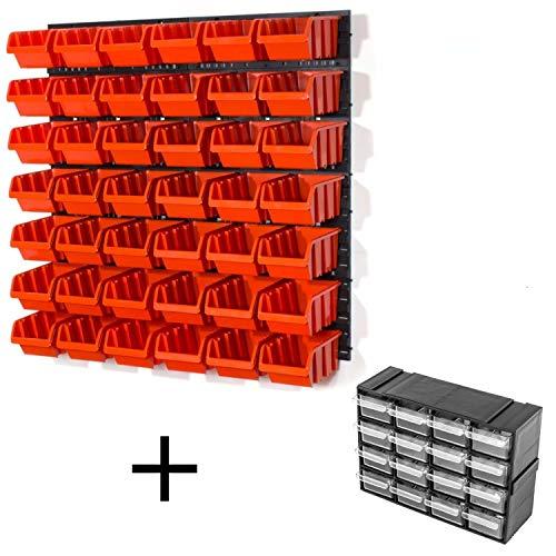 Lager Wandregal Lagerregal, 42 Stapelboxen Orange Gr. 3 POP Serie, 4 Wandplatten + Organizer
