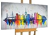 KunstLoft® Acryl Gemälde 'Hamburg, meine Perle' 140x70cm | original handgemalte Leinwand Bilder XXL | Hamburg Skyline Deutschland Bunt | Wandbild Acrylbild moderne Kunst einteilig mit Rahmen
