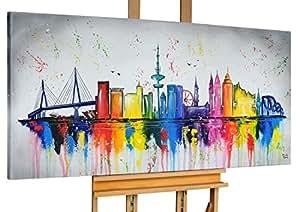 KunstLoft® Acryl Gemälde 'Hamburg, Meine Perle' 140x70cm