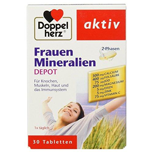 Doppelherz Frauen Mineralien DEPOT / Nahrungsergänzungsmittel mit vielen Mineralien und Vitaminen / Tabletten mit 2-Phasen-System / 1 x 30 Tabletten