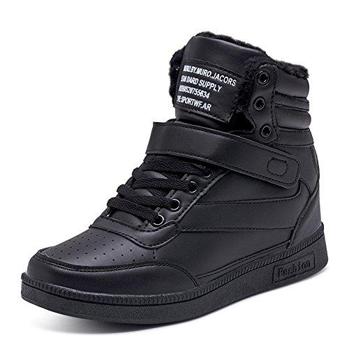 BAINASIQI Damen Sneakers High Top Sportschuhe Wedges Keilabsatz Schuhe Laufschuhe Atmungsaktive Freizeitschuhe Turnschuhe (EU 40, Schwarz-02)