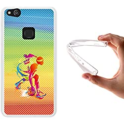 Funda Huawei P10 Lite, WoowCase [ Huawei P10 Lite ] Funda Silicona Gel Flexible Jugador de Baloncesto Multicolor, Carcasa Case TPU Silicona - Transparente