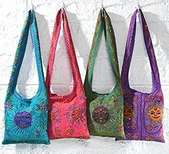 India Hippy Sunshine Cotton Slouch Bag Green