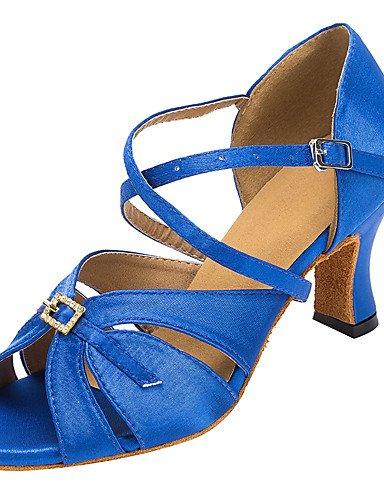 La mode moderne Sandales femmes Satin/Latine Chaussures de danse de bal Salsa Rhinestone sandales talon intérieur personnalisé professionnel/noir/bleu US5/EU35/UK3/CN34