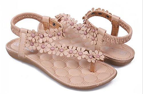 Fortuning's JDS Bohemia fiori e perline di flip-flop sandali piani per le donne Beige