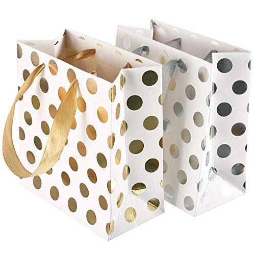 schen Papier Party Favor Taschen mit Band Griff für Hochzeiten Geburtstag und Urlaub Präsentiert, Gold und Silber (Papier-geschenk-taschen Mit Griffen)