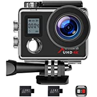 CLAW Campark ACT76 Action Camera 4K WiFi Ultra HD Sports Cam Underwater Waterproof 30M 170° Wide-Angle Lens with Remote Control and 2 Recharge Batteries with Mounting Accessories Kit
