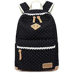 Backpack Mochilas Escolares, Marsoul Mujer Mochila Escolar Lona Grande Bolsa Estilo Étnico Vendimia Casual Colegio Bolso Para Chicas (Black)