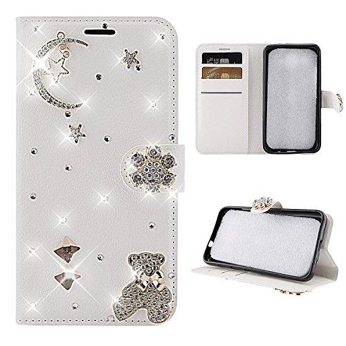 HongHushop 3D Bling Strass Glitter PU Leder Handyhülle für Huawei P30 Pro Spiegel Diamant Schnalle Hülle [Kartenslots] [Magnetverschluss] Schutzhülle für Huawei P30 Pro - mond bären -