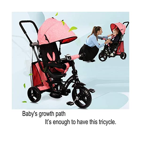 GSDZSY - Baby Tricycle Trike Stroller First Bike,3 In1 With Adjustable Push Handle Bar, 1.5-6 Years Old,Black GSDZSY  8