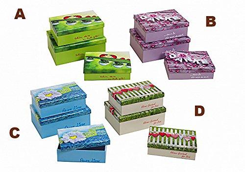 Kamaca 3 3 ER Boxen Set Geschenk Schachteln Kartons Fester beschichteter Karton perfekt zum Schenken Ordnen Aufbewahren (B Rosen)