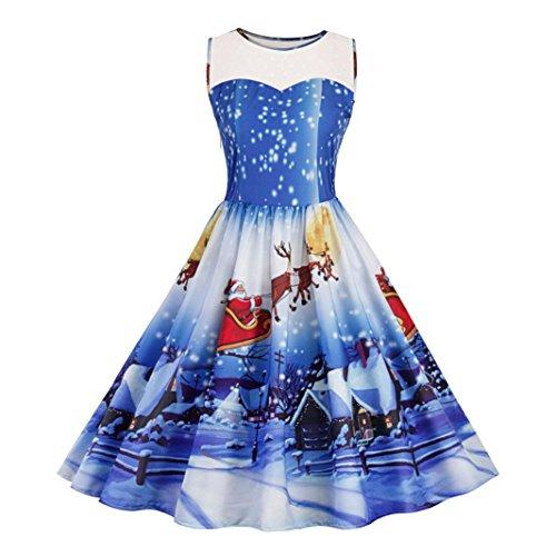 Weihnachtskleid , Dasongff Damen Weihnachtsdeko Cocktailkleid Pullover Kleide Weihnachten 3D-Druck Ärmellos Spitze Spleißen Kleid Swing Kleid Partykleid Cocktailkleid (Blau, M)
