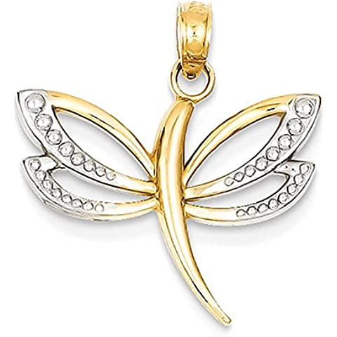 14k e rodio diamante -Tagliare pendente della libellula