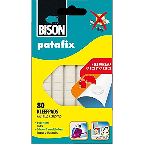 BISON - pàte a Fix Patafix 80 Pastiglie Adesive Rimovibili e riutilizzabili, bianche