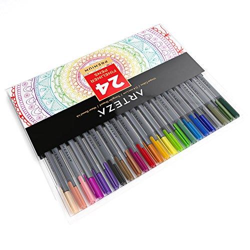 Preisvergleich Produktbild arteza Fineliner-24-colors-0,4mm Line-metallgefasste umhüllte Tipps-(24Stück)