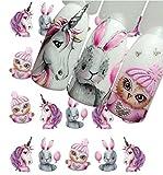 AIUIN 9 Stück Nagelaufkleber Muster Zeichnungen Animate Meerjungfrau und Einhorn Dübel Tip-Sticker Set mit Nägeln Maniküre