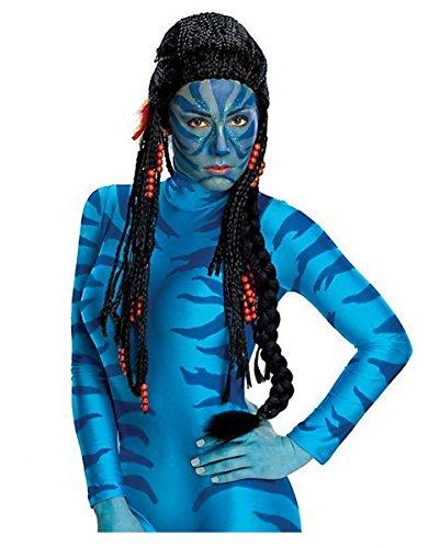 Avatar Neytiri Perücke mit Federn, Perlen, Rastas schwarz | Polyester, Polyamid für (Kostüm Avatar Na'vi)