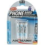 Ansmann LR03 NiMH 3x AAA (800mAh) Batteries rechargeable pour téléphones sans fils DECT