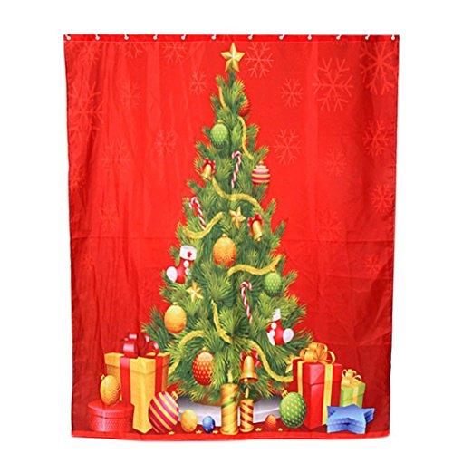 Duschvorhang Clode® Custom Frohe Weihnachten Stoff Wasserdicht Badezimmer Duschvorhang (E) (Frohe Weihnachten Stoff)