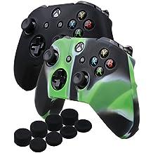YoRHa silicona caso piel Fundas protectores cubierta para Microsoft Xbox One X & Xbox One S controller Mando x 2 (negro&camuflaje verde) Con PRO los puños pulgar thumb grips x 8