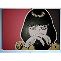 Uma Thurman Mia Wallace Pulp Fiction – cuadro moderno panel madera MDF pintado a mano Comic