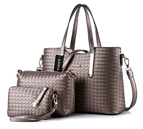 Tibes mode pu cuir sac à main + sac à bandoulière + sac 3pcs sac Gris