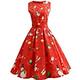 iBaste Women's Christmas Pattern Slim Fit Retro Round Neck Sleeveless Midi Dress Vintage Cocktail Party Swing Dress for Girls