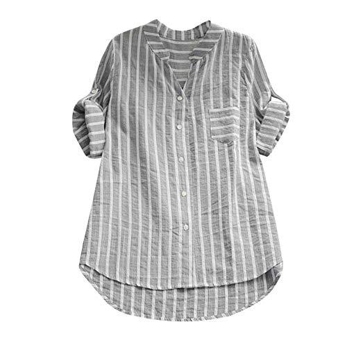 GJKK Bluse Damen Herbst Shirt Gestreifte 3/4 Ärmel Stehkragen Hemd Beiläufige Lose T-Shirt Knopf Tops Oberteile Sweatshirt Lose Langshirt Tunika