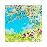 YongFoto 2,5x2,5m Vinile Fondale Foto Fiori di primavera Erba verde Coniglio Uova di Pasqua Bokeh Blue Sky Sfondo fotografico Fotografia Sfondi per foto Partito Studio Puntelli