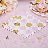 Simplydeko Papierservietten   Motivservietten zu Kindergeburtstag, Kommunion, Taufe, Hochzeit, Geburtstag (Punkte in Rosa Gold)