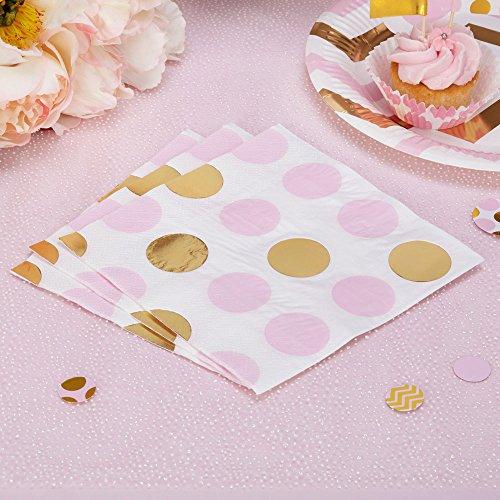 Simplydeko Papierservietten | Motivservietten zu Kindergeburtstag, Kommunion, Taufe, Hochzeit, Geburtstag (Punkte in Rosa Gold) Taufe, Papierservietten