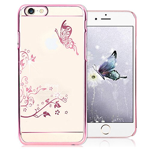 EMAXELERS iPhone 7 Hülle Gold,iPhone 7 Case Transparent Clear Glitzer Liquid Crystal Hülle,iPhone 7 Hard Hülle,iPhone 7 Hülle Rosa,iPhone 7 Hülle Bling 3D Kreative Liquid Case Etui für iPhone 7 4.7 Zo K Dandelion Butterfly 6
