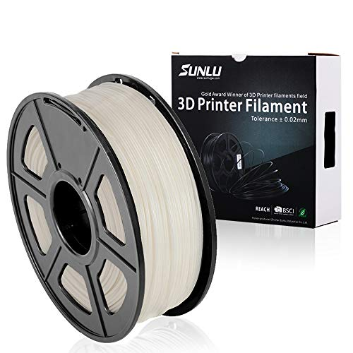 SUNLU ABS Plus 3D Printer Filament, ABS Filament 1.75 mm, 3D Printing filament Low Odor Dimensional Accuracy +/- 0.02 mm, 2.2 LBS (1KG) Spool, White ABS+