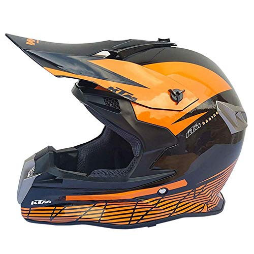 JLbao Motocicleta Crosshelm Hombres, Negro y Naranja, Motocross Downhill Casco Full Face...