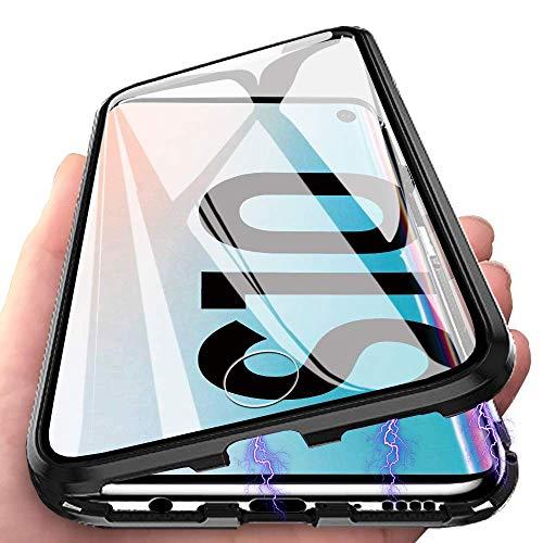 Galaxy S10 Hülle Magnetic Adsorption Handyhülle für Samsung Galaxy S10, E-Lush Hülle Ultra Dünn Durchsichtig Handy Hülle 360 Grad Komplettschutz Metall Bumper mit Gehärtetes Glas, Schwarz