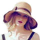 June's Young Damen Modischer Sommerhut Strandhut mit Großen Krempen Eleganter Sonnehut mit Schleifen Hübsche Kopfbedeckung Strohhut UV-Schutz Fischerhut