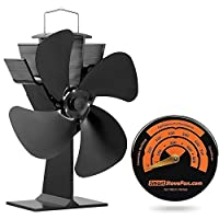 Free Gift Stove Thermometer + Whisper Quiet 17% Fuel Saving No Electricity Required Heat Powered Stove Fan